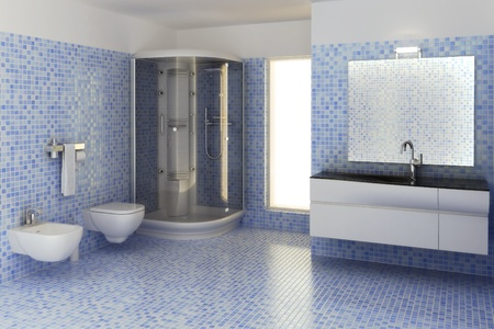 floor tiles: computer generated 3d bathroom interior
