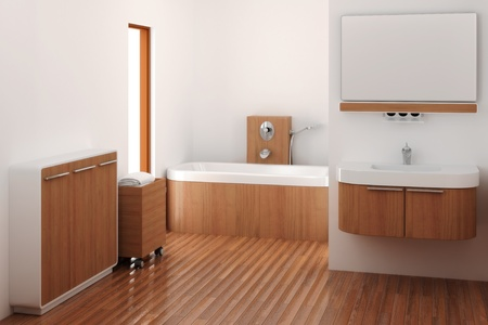 computer generated 3d bathroom interior photo