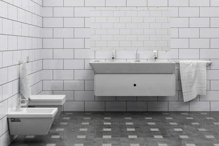 Computergenerierte 3d billig Bathroom interior Standard-Bild - 9264429