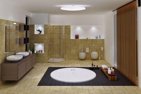 piastrelle bagno: computer generated 3d interni di bagno di lusso Archivio Fotografico