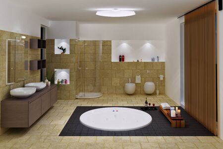 computer generated 3d luxury bathroom interior photo