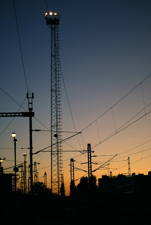 Electric powerlines silhouette