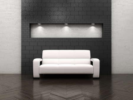 empty room with sofa