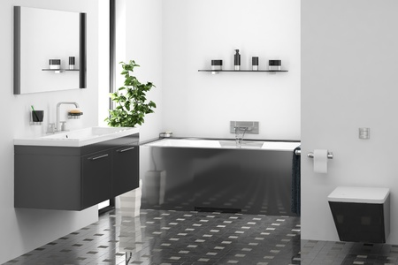 computer generated modern bathroom Stock Photo