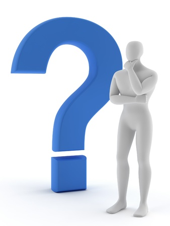 3d human with a blue question mark Stock Photo