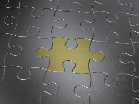 individuality: gold puzzle piece Stock Photo