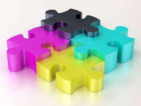 cmyk color jigsaw puzzle pieces