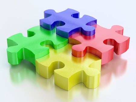 rgb color jigsaw puzzle pieces on reflect background photo
