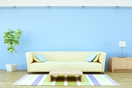 Interior with sofa, plant and lamp Stock Photo - 13315599