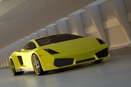 car front: yellow sport car