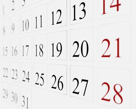 Close up of calendar page Standard-Bild