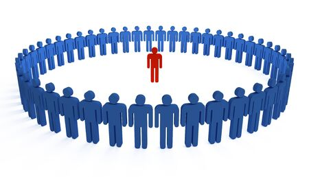 3d people in a big circle with leader
