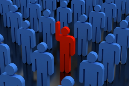 one on one meeting: stand out from the crowd Stock Photo