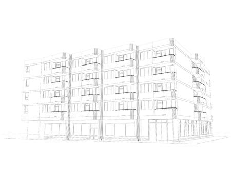 Architektur wire-frame-Plan Standard-Bild - 14448811