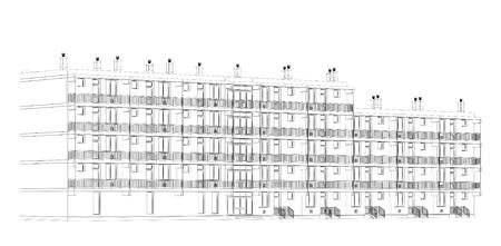 architectural wire-frame plan Standard-Bild