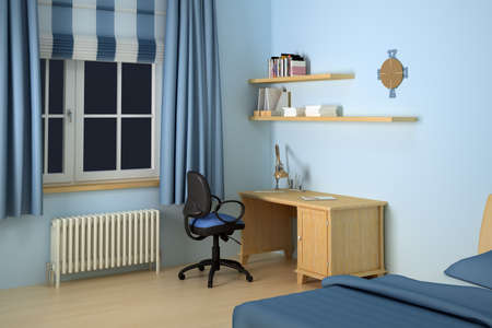 3d illustration of desk and chair in blue decorated bedroom