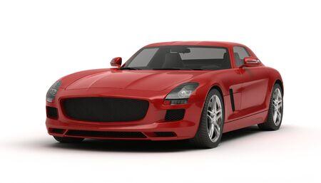 sleek: Realistic 3d illustration of a stylish sports car on white background