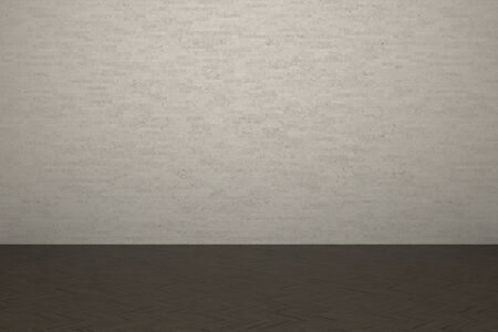 Textured background of brick wall and wooden laminate floor in building