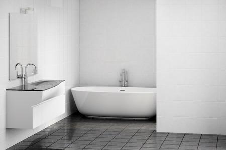 spacious: 3d illustration of a stylish modern interior of bathroom