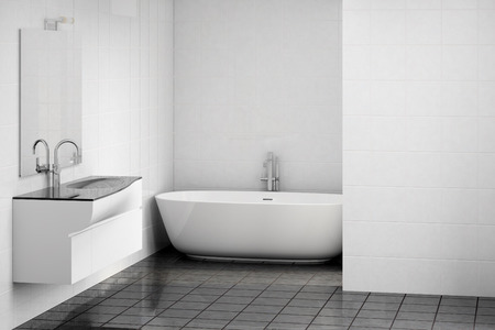 Illustrazione 3D di un interno elegante e moderno della stanza da bagno Archivio Fotografico - 49945218