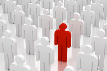 lonely person: 3d illustration of a group of white figures with single red one
