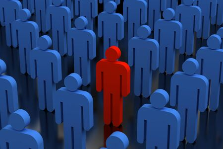 separated: An illustration of a red person in a crowd of people blue Stock Photo