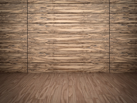 Abstract background of textured timber wall and wooden floor