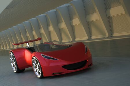 Red futuristic sports car concept 3d rendering