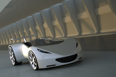 3D silver sports car driving in tunnel