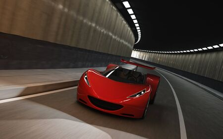 3D of red sports car driving in tunnel