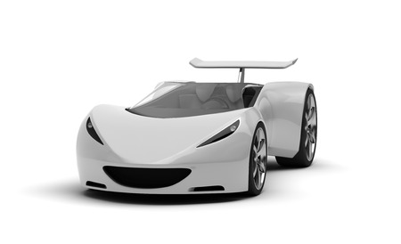 3D silver sports car on white background