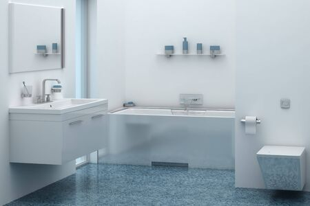 linoleum: 3d interior of bathroom with sink and tub