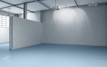 unfurnished: 3d building interior with white and blue brick walls without furnishing flooring