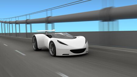 3D white sports car on roadway