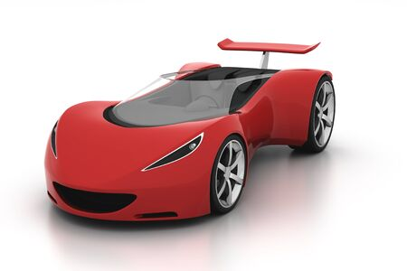 3D red sports car front view on white background Standard-Bild