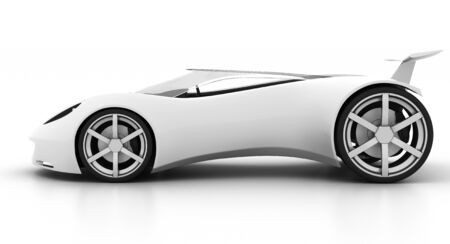 Side view of racy sports car on white background