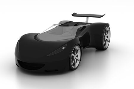 3D black sports car isolated on white