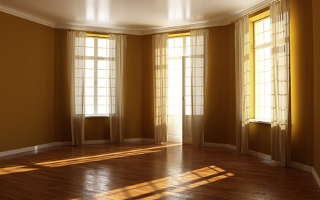 Empty residential room with wood floors and brown walls
