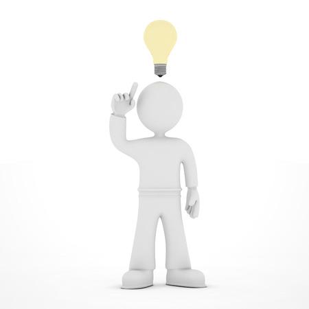 3D icon of man with idea light bulb overhead