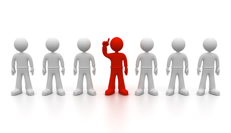 exception: 3D graphic row of icons of male white with one red Individual Stock Photo