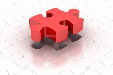 solver: Red puzzle piece 3D jigsaw puzzle with background items Stock Photo