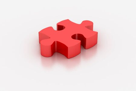 solved: 3d Red jigsaw piece on a white background Stock Photo