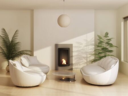 leather furniture: Interior of a modern living room with leather furniture