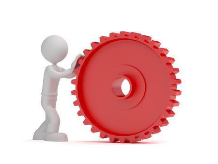 Little red 3d man push gear Standard-Bild