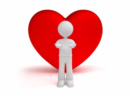 fondness: 3d man gives little hearts isolated white background Stock Photo