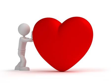 fondness: 3d man give little heart
