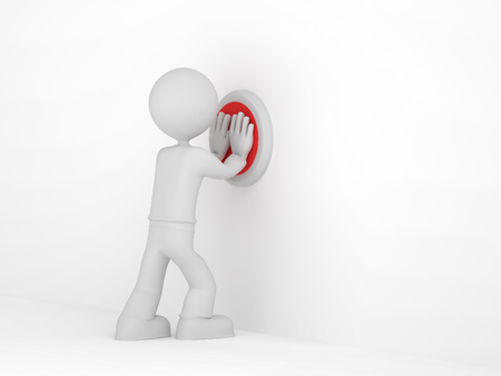 3D pequeño hombre empuja el botón rojo