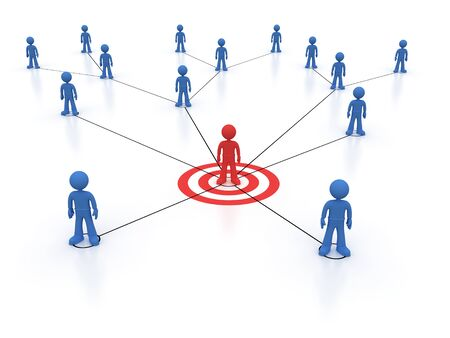 Social network one red character Stock Photo