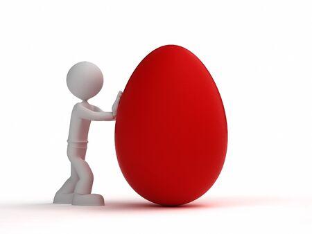 3d kleine Mann schieben rotes Ei Standard-Bild - 53462004