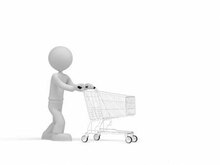 3d Little Man pushing shopping cart Standard-Bild